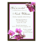 Pink Orchid Flowers Bridal Shower 13 Cm X 18 Cm Invitation Card