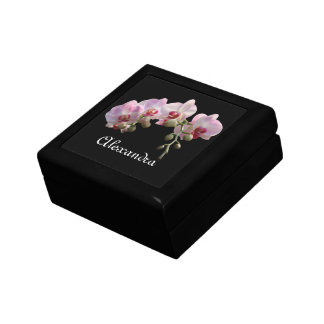 pink orchid flowers with name treasure box. gift box