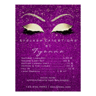 Pink Orchid Gold Confetti Makeup Lashes Price List Poster