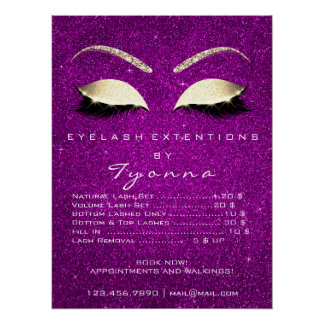 Pink Orchid Gold Makeup Artist Lashes Price List Poster