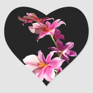 Pink Orchid. Heart Sticker