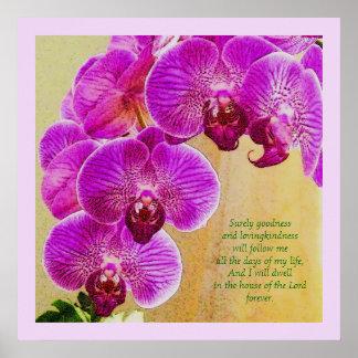 Pink Orchid Psalm 23 Custom Christian Art Poster