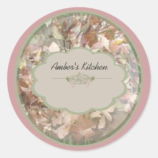 pink orchid spice jar labels round sticker
