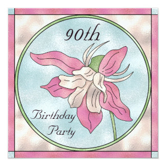 Pink Orchid Stain Glass Effect 90th Birthday 13 Cm X 13 Cm Square Invitation Card