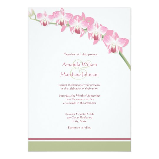 Pink Orchid Wedding Invitations