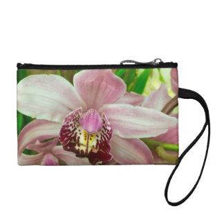 Pink orchid wristlet purse