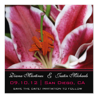 """Pink Orchids Flowers Save the Date 5.25"""" Square Invitation Card"""