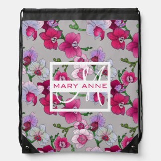 Pink Orchids In Bloom | Add Your Name Drawstring Bag