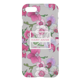 Pink Orchids In Bloom   Add Your Name iPhone 7 Case