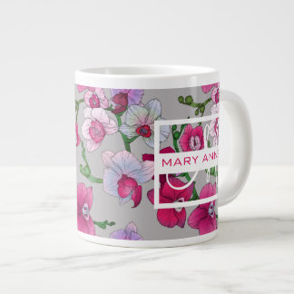 Pink Orchids In Bloom | Add Your Name Large Coffee Mug