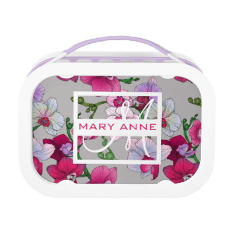 Pink Orchids In Bloom | Add Your Name Lunch Box