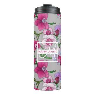 Pink Orchids In Bloom | Add Your Name Thermal Tumbler