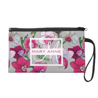 Pink Orchids In Bloom | Add Your Name Wristlet