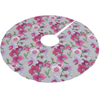 Pink Orchids In Bloom Brushed Polyester Tree Skirt