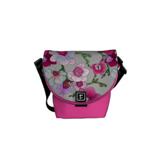 Pink Orchids In Bloom Messenger Bags