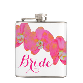 Pink Orchids - monogrammed Hip Flask