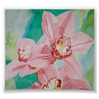 pink orchids print