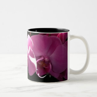 Pink Orchids Two-Tone Coffee Mug