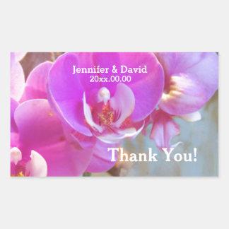 Pink Orchids Wedding Seals Rectangular Sticker