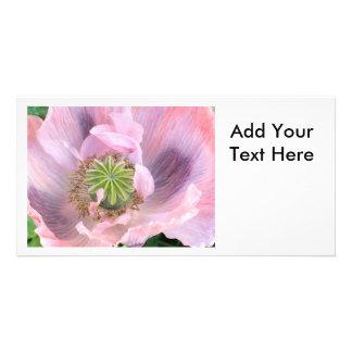 Pink Oriental Poppy Personalized Photo Card