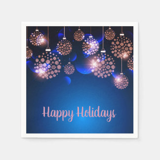Pink Ornaments On Blue Happy Holiday Disposable Napkin