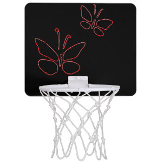 pink outline butterflies black Thunder_Cove Mini Basketball Hoop