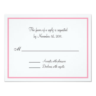 Pink Outline Reply / RSVP Cards 11 Cm X 14 Cm Invitation Card