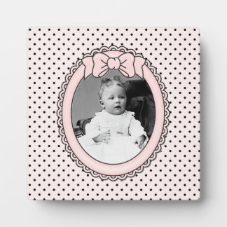Pink Oval Frame with Bow - Customize with Your Pic Display Plaques