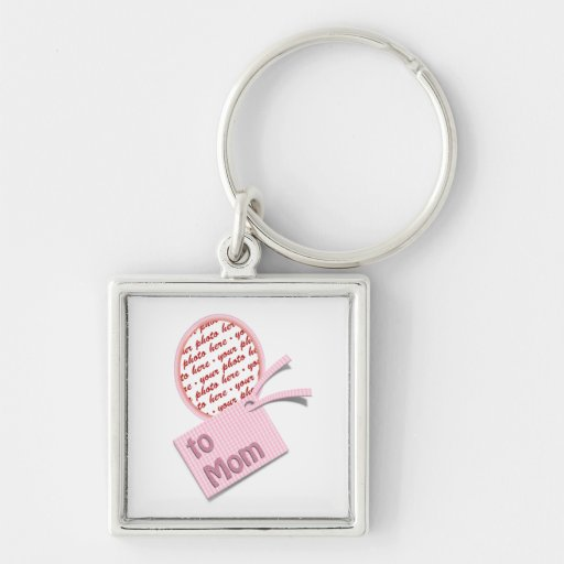 Pink Oval Photo Frame For Mom Key Chain