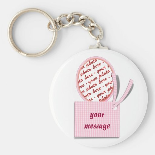Pink Oval with Tag  Memento Photo Frame Keychain