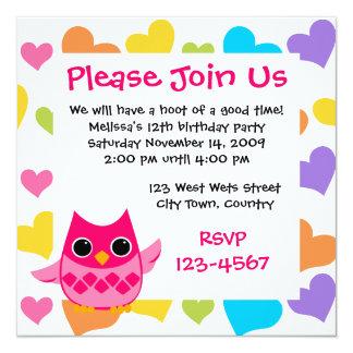 Pink Owl 13 Cm X 13 Cm Square Invitation Card