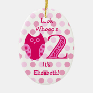 Pink Owl 2nd Birthday Photo Ornament