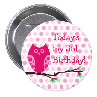 Pink Owl 3rd Birthday Button