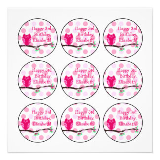 Pink Owl 3rd Birthday Cupcake Toppers Invitations