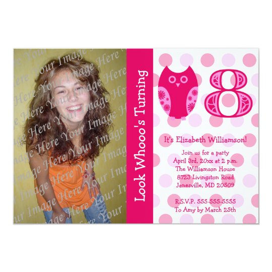 Pink Owl 8th Birthday Party Photo Invitations