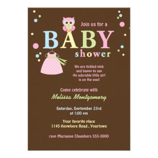 Pink Owl and Baby Dress Shower Invite