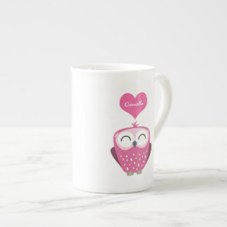 Pink Owl and Love Heart Personalizable Name Mug