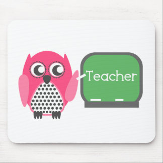 Pink Owl At Chalkboard Mousepad