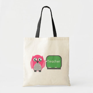 Pink Owl At Chalkboard Tote Bags