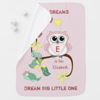 Pink Owl Baby Blanket Dream Big Little One