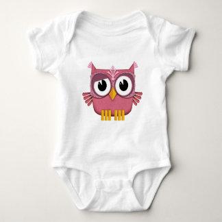 pink owl baby bodysuit
