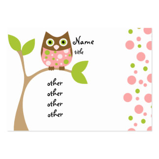 Pink Owl Baby Business Card Template