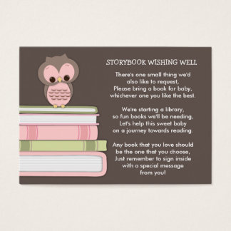 Pink Owl Baby Shower Book Insert Request Card