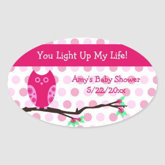 Pink Owl Baby Shower Candle Jar Favor Tags Oval Sticker