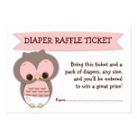 Pink Owl Baby Shower Diaper Raffle Ticket Insert Pack Of Chubby Business Cards