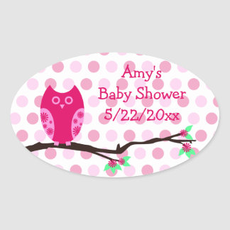 Pink Owl Baby Shower Favor Stickers