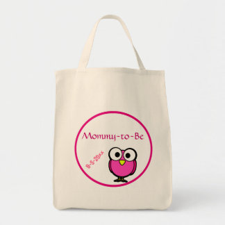 Pink Owl Baby Shower Grocery Tote Bag