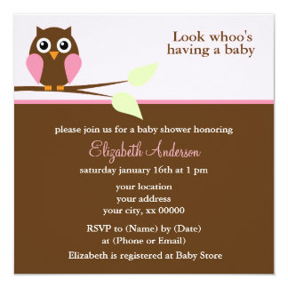 Pink Owl Baby Shower 13 Cm X 13 Cm Square Invitation Card