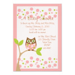 Pink Owl Baby Shower Invitation 13 Cm X 18 Cm Invitation Card