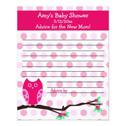 Pink Owl Baby Shower Personalized Advice Cards Full Color Flyer